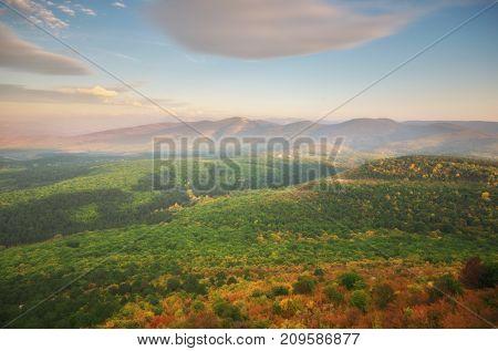 Mountain autumn hills landscape. Nature composition.