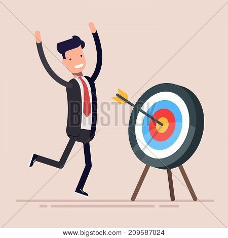 Happy businessman or manager rejoices near the hit target. The man hit the target exactly. Vector illustration in a flat style