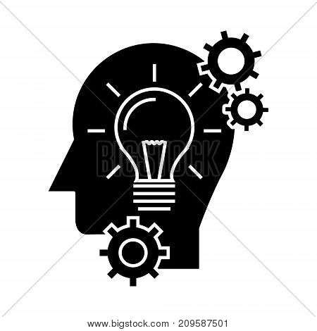 head with lamp, idea generation  icon, vector illustration, black sign on isolated background