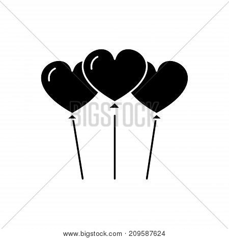 heart shaped balloons  icon, vector illustration, black sign on isolated background