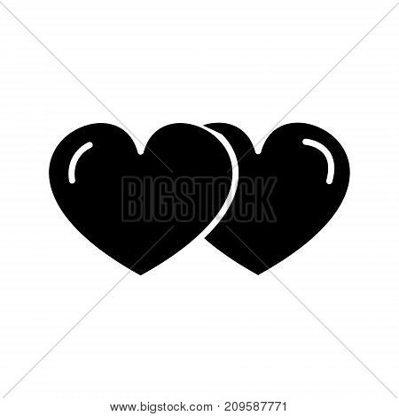 hearts couple love  icon, vector illustration, black sign on isolated background
