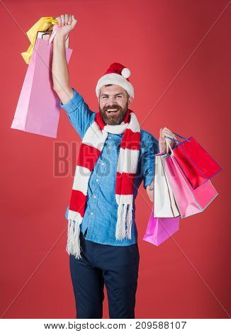 Christmas Man Shopper Smile In Santa Hat With Winner Gesture