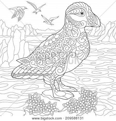 Coloring page of puffin seabird of northern and Arctic waters. Freehand sketch drawing for adult antistress coloring book in zentangle style.