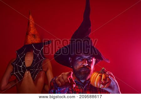 Halloween Hipster With Pumpkin And Girl Bat On Red Background