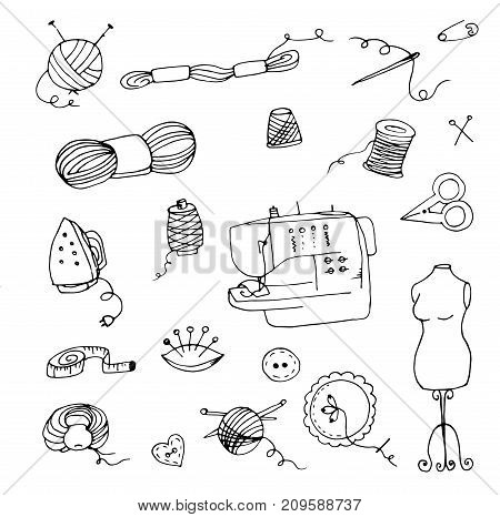 Doodle knitting, sewing scissors, mannequin and needle sewing machine, iron, crochet and knitting needles, thimble, tape, balls of yarn and spools of thread, embroidery