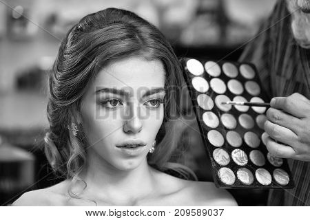 Pretty Woman With Makeup And Palette
