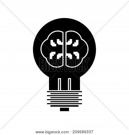 lamp with brain, idea  icon, vector illustration, black sign on isolated background