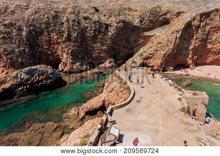 BERLENGA ISLAND, PORTUGAL - September 10, 2017: People visiting the island of Berlenga, in Portugal