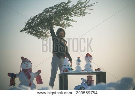 Man Raising Xmas Tree And Shouting On Blue Sky
