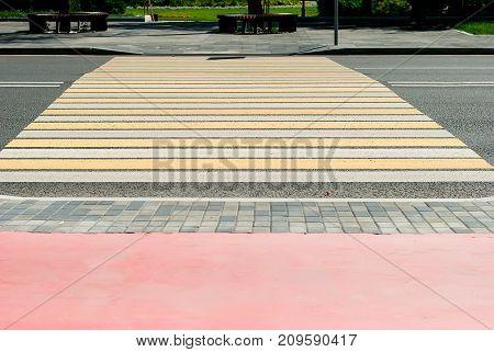 Crosswalk Background In Town On Background