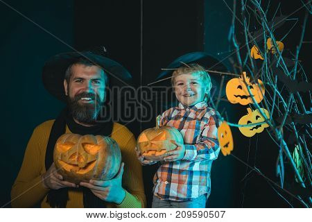 Halloween Father And Small Son, Fathers Day.