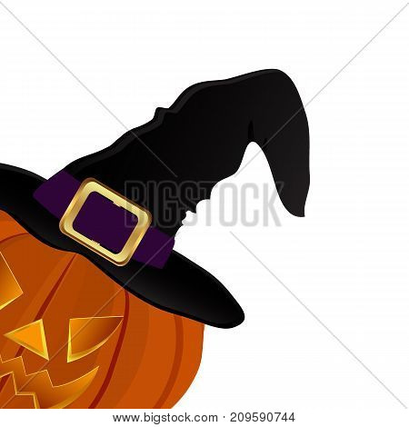 Pumpkin for Halloween in a witches hat illustration
