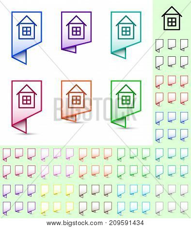 Map marker or pointer angular marker mock up with color frame and white background. Ready marker template for your various icons. House icon is shown as an example.