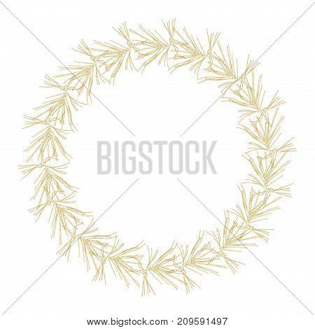 Golden fir branches decor frame. Vector illustration for your design