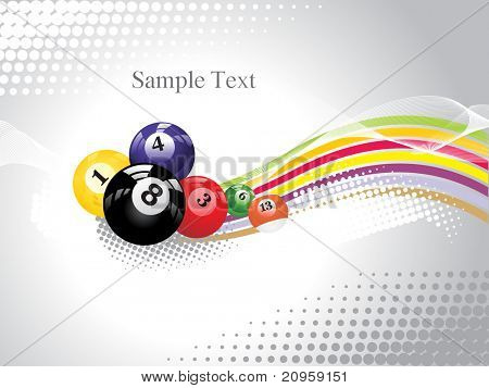 background with colorful billiard balls, vector sports background