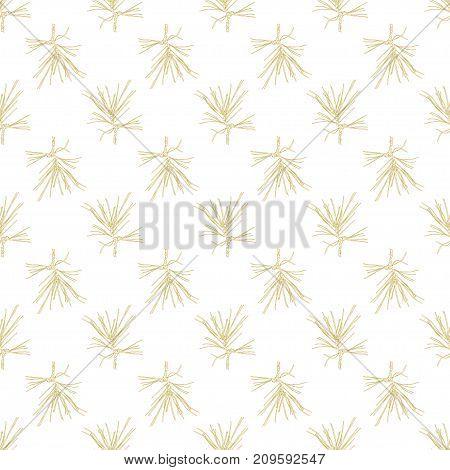 Golden fir branches decor seamless pattern. Vector illustration for your design