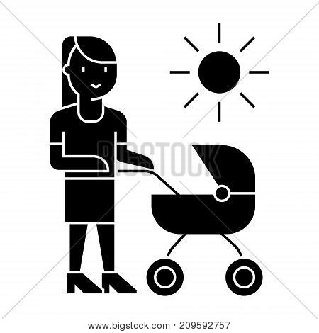 mother with baby stroller  icon, vector illustration, black sign on isolated background