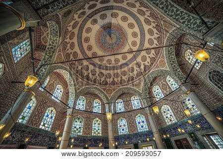 ISTANBUL, TURKEY - October 2, 2017: Interior of the Tomb of Sultan Mehmed III located on the territory of Hagia Sophia museum complex
