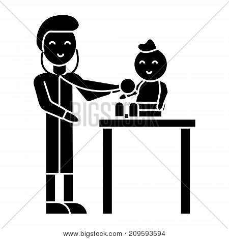 pediatrician with child  icon, vector illustration, black sign on isolated background