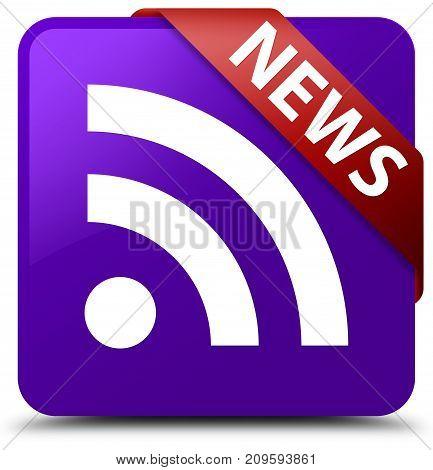 News (rss Icon) Purple Square Button Red Ribbon In Corner