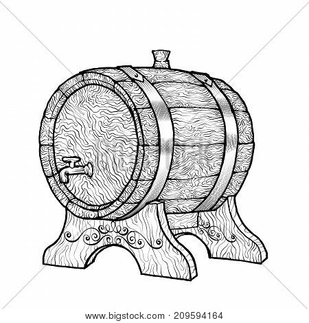 Vector Sketch Illustration Of Wooden Wine Barrel With Faucet In Vinatge Style With Stand. Hand-drawn
