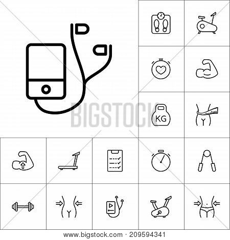 Thin Line Music Player Icon, Workout Training Set On White