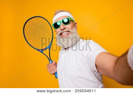 Competetive Emotional Cool Grandpa With Humor Grimace Exercising Holding Equipment, Shoting Photo. B