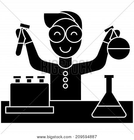 scientist kid, lab tests  icon, vector illustration, black sign on isolated background