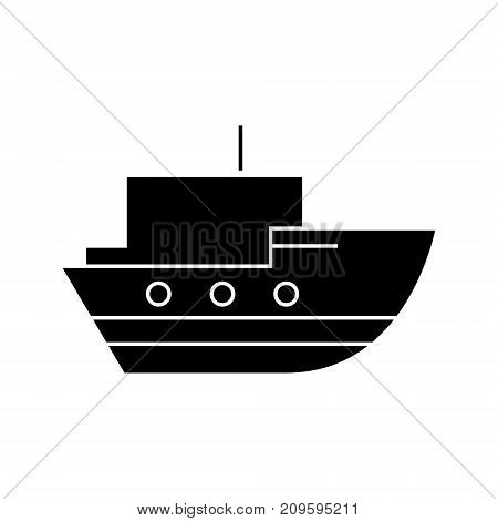 ship in sea   icon, vector illustration, black sign on isolated background