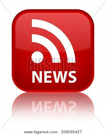 News (rss Icon) Special Red Square Button