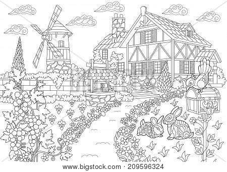 Coloring page of rural landscape. Farm house windmill water well mail box bunnies woodpecker bird grape vines. Freehand sketch drawing for adult antistress coloring book in zentangle style.