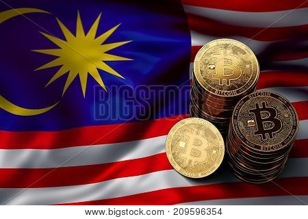 Stack Of Bitcoin Coins On Malaysian Flag. Situation Of Bitcoin And Other Cryptocurrencies In Malaysi
