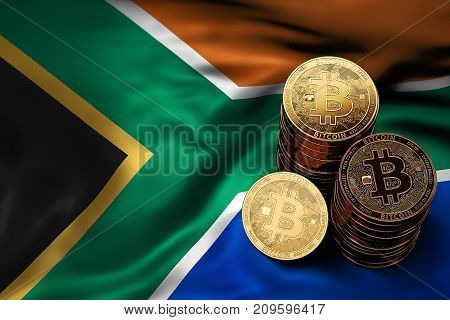Stack Of Bitcoin Coins On Southern Africa Flag. Situation Of Bitcoin And Other Cryptocurrencies In S