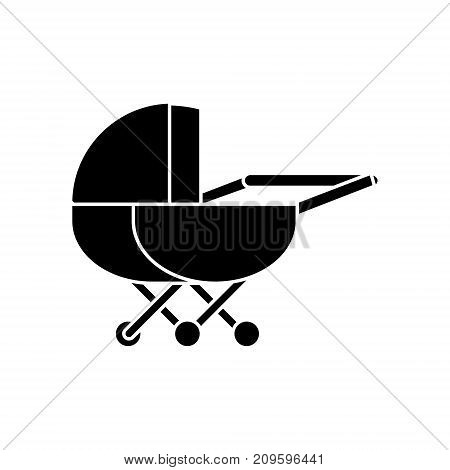 stroller  icon, vector illustration, black sign on isolated background