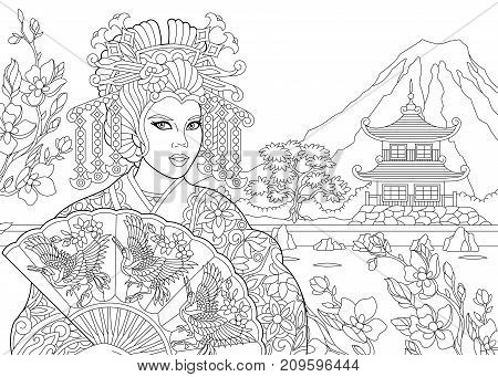 Coloring page of geisha (japanese dancing actress) with pagoda and cherry blossom on the background. Freehand sketch drawing for adult antistress coloring book in zentangle style.