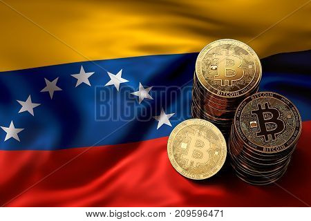 Stack Of Bitcoin Coins On Venezuelian Flag. Situation Of Bitcoin And Other Cryptocurrencies In Venez