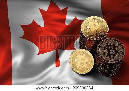 Stack Of Bitcoin Coins On Canadian Flag. Situation Of Bitcoin And Other Cryptocurrencies In Canada C