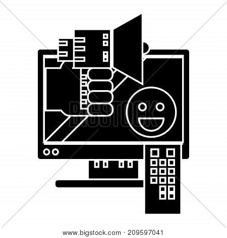 telemarketing  icon, vector illustration, black sign on isolated background