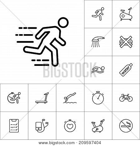 Thin Line Fast Running Man Icon, Cardio Training Set On White