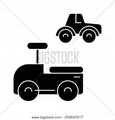 toys cars  icon, vector illustration, black sign on isolated background