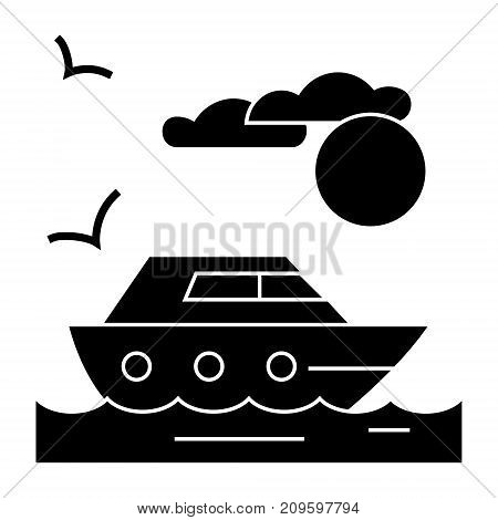 travel sea yacht  icon, vector illustration, black sign on isolated background