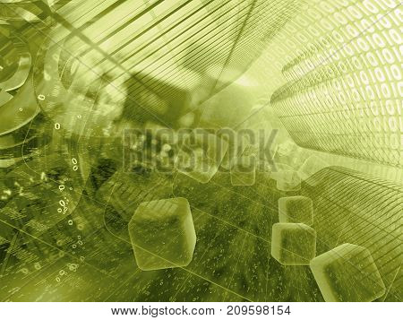 Abstract computer background in sepia - digits in the tunnel.