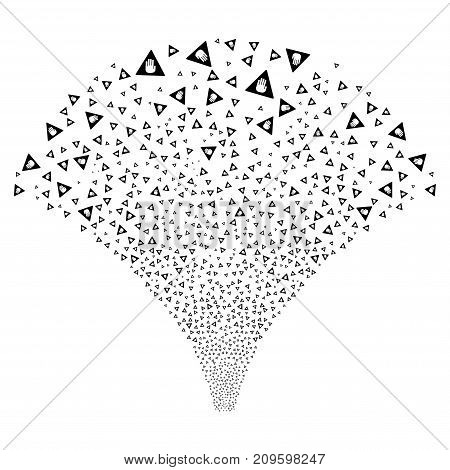 Fountain of caution symbols. Vector illustration style is flat black iconic symbols on a white background. Object fountain made from confetti pictographs.