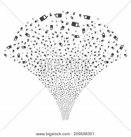Source of cell phone icons. Vector illustration style is flat black iconic symbols on a white background. Object fountain organized from confetti icons.