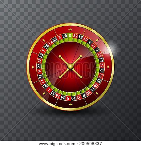 Vector illustration on a casino theme with roulette wheel on transpareent background