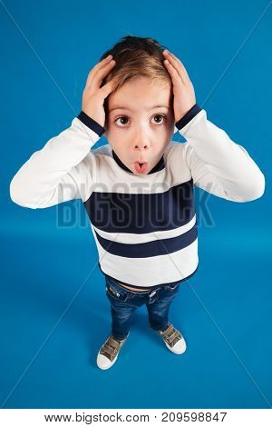 Vertical top view image of shocked young boy in sweater holding head over blue background