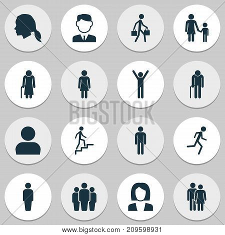 People Icons Set. Collection Of Happy, User, Member And Other Elements