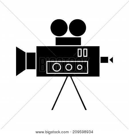 video cinema camera vintage  icon, vector illustration, black sign on isolated background