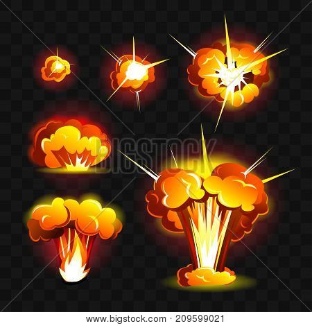 Big explosion - modern vector realistic isolated clip art on transparent background. Burning orange, yellow, red fires of different shapes. Concept of energy, danger, power, damage, natural disaster