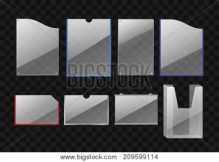 Set of folders - modern vector realistic isolated clip art on transparent background. Paper holders of different shapes and colors: red, white, purple, blue. Office supplies, goods, materials